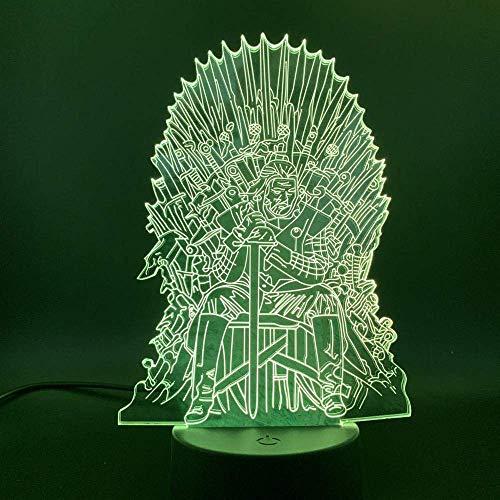 Lámpara de ilusión 3D Luz de noche LED Juego de tronos Lord Eddard Stark Ned Trono de hierro para amigos Regalo Sala de oficina Lámpara de escritorio decorativa