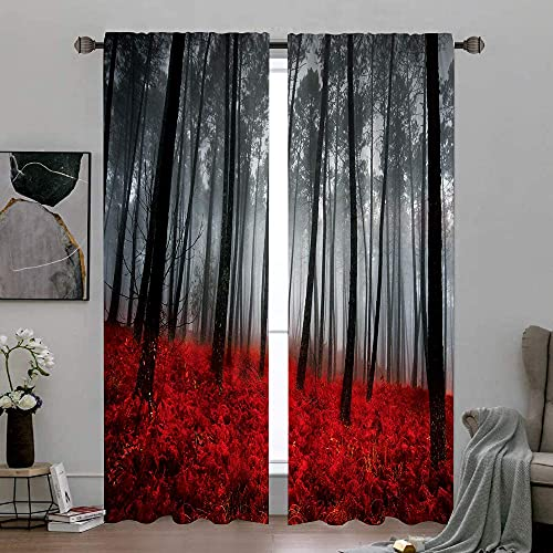 Cinbloo Gothic Living Room Curtains Black Red Rod Pocket Forest Curtains Divider Nature Scenery Bedroom Decor Tree Floral Modern Art Printed Window Drapes Treatment Fabric 2 Panels 52 (W) x 84(L) Inch