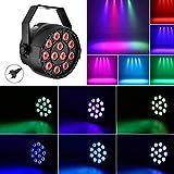 Luz de Escenario Par LED, Lacyie Luces Discoteca 3in1 18W 12LED Soporte de modo sonido maestro...