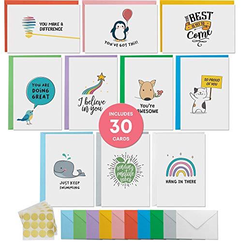 Dessie 30 Motivational Encouragement Note Cards With Envelopes. 4x6 Inch Inspirational Greeting Cards With Colorful Envelopes & Gold Seals. Blank Inside. All Occasion Cards Assortment Box.