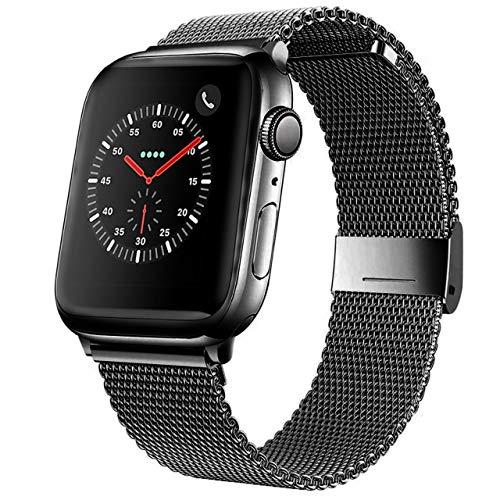 Mediatech Cinturino di ricambio compatibile con Apple Watch 44 mm 42 mm 40 mm 38 mm Cinturino in acciaio inox con chiusura rapida compatibile con iWatch Series 6/5/4/3/2/1 SE (42 mm / 44 mm, nero)