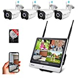 1080P Wireless Security Camera System with 11.6 Inch LCD Monitor& 1TB Hard All in One, 4 Outdoor/Home Surveillance Cameras with Night Vision, Waterproof, Motion Detection, Remote View