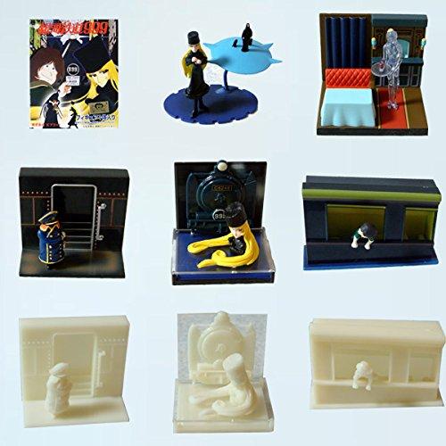 GALAXY EXPRESS 999 Set 8 Trading Figures Chiffres Vignette Original du Japon avec Sticker TOEI Albator Herlock
