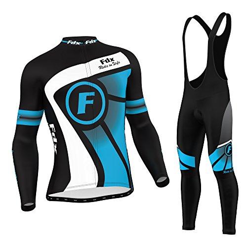 FDX Enganliegende Fahrradbekleidung, Herren, thermisches Oberteil mit Leggins in Latzhosen-Stil, Set Medium blau