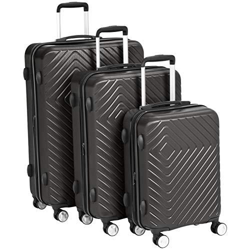"""Amazon Basics Geometric Luggage - 3 Piece Set (20"""", 24"""", 28""""), Black"""