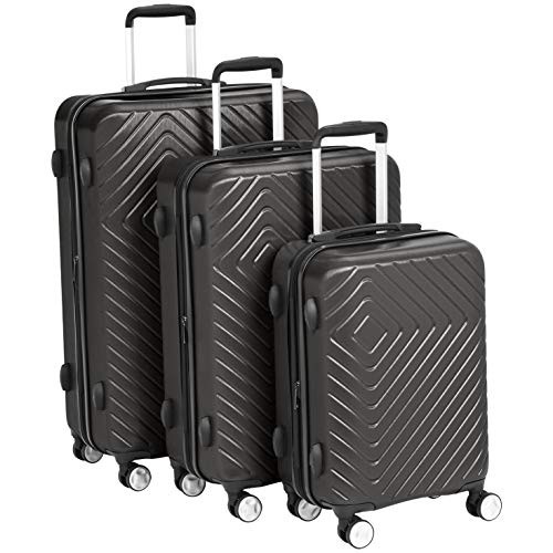 AmazonBasics 3 Piece Geometric Hard Shell Expandable Luggage Spinner Suitcase Set - Black