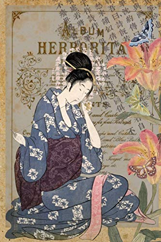 Dot Grid Journal - Vintage Japanese Art Collage - Woman Sewing: Layered Flowers, Butterflies & Japanese Script - Stationery Notebook Diary