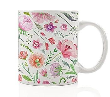 Pretty Floral Coffee Mug Beautiful Flower Pattern Gift Idea Artist Writer Woman Housewarming Hostess Present from Friend Colorful English Garden Shabby Chic 11oz Ceramic Tea Cup by Digibuddha DM0185_2