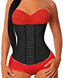 YIANNA - Corsé para mujer, en látex, reductor de cintura, corpiño modelador - negro - Large
