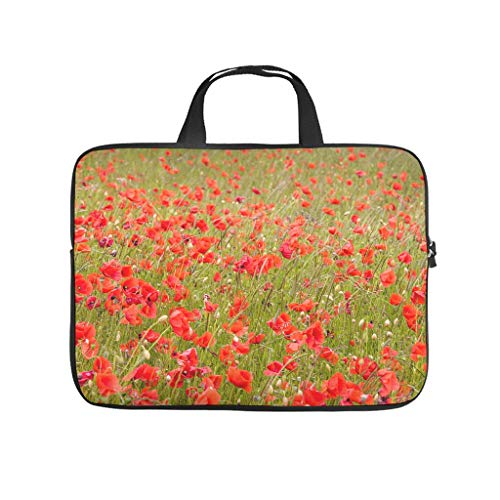Landscape Red Poppy Field Flowers Laptop Sleeve Fashion Full Printed Tablet Sleeve Water Resistant Polyester Tablet Protective Case Cover for Teen Students White 12inch