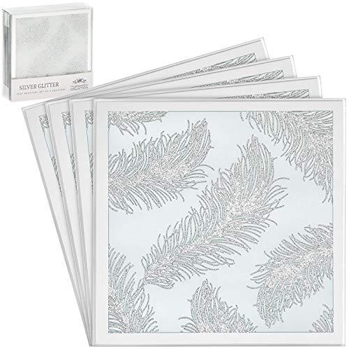 The Leonardo Collection Elegante, Glas, Silber mit Feder Muster und Untersetzer-Set aus Naturschiefer, weiß/Silber, Set of 4 Coasters
