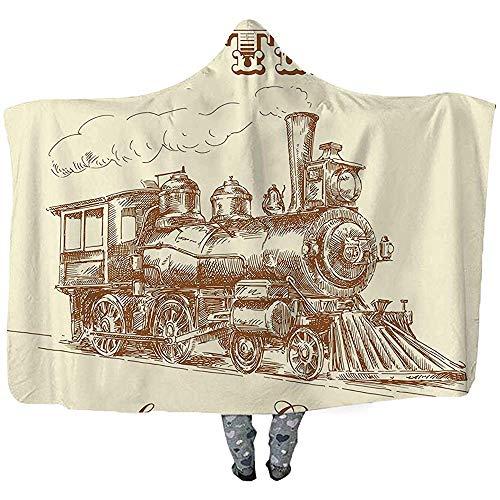 L.R.D Draagbare deken met capuchon, stoomreiniger, draagbare deken, industriële locomotieven van Epoca Industrial ijzer, ontworpen aan de zijkant van de oude tijden, 50 x 40 cm