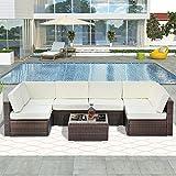 ADFBL 7 piezas de muebles de patio conjuntos de ratán seccional sofá mesa de té lavable cojines