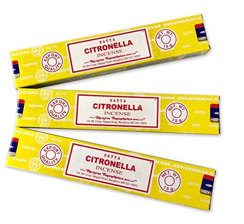 Satya - Incenso aromatico Citronella naturale per aromaterapia, bastoncini di incenso, 3 confezioni da 15 g