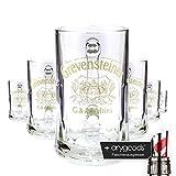 6 x Grevensteiner 0,5l Glas/Gläser, Seidel, Markenglas, Bierglas NEU + anygoods Flaschenausgiesser