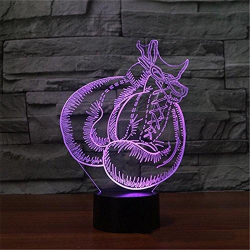 3D Optical Illusion Lampe LED Nachtlichter,KINGCOO Verstellbar 7 Farben LED Schreibtischlampen Acryl Licht Berührungsschalter Visual Atmosphäre Tischlampe,Geschenk für Weihnachten(Boxhandschuhe)