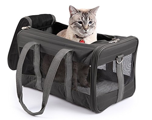 Sherpa Travel Original Deluxe Airline Approved Pet Carrier,Large, Charcoal