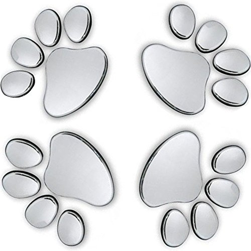 MINGZE 4pcs 3D Chrome Dog Paw Footprint Car Sticker, Auto Emblem Decal Decoration (Silver)