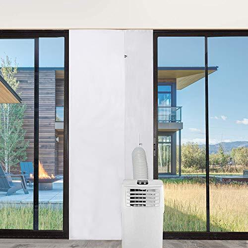 Faburo Tür- und Fensterabdichtung für Mobile Klimageräte Klimaanlagen Türabdichtung mit Reißverschluss für Ablufttrockner Wäschetrockner zum Türen (210 x 90CM)