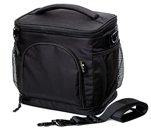 Insulated Lunch Bag by UnitedLuk, Soft Cooler, Large Adult Lunch Box for Men and Women, Black Thermal Food Tote for 3 Bento Lunch-boxes Set + Double-sewn Nylon, Best Zippered with Pockets, Metal Clips