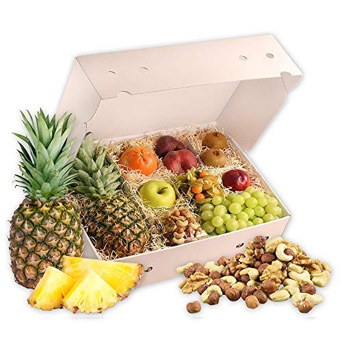 Obstbox Balance-Snack mit frischem Obst für einen lieben Gruß in klassischer Geschenkbox für eine gesunde Ernährung (Die Himmelblaue)