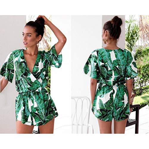 JQSTY Women's V Neck Leaves Print Jumpsuit Playsuit Loose Short Sleeve Beach Shorts Romper(Green,XL)