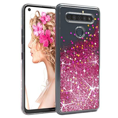 EAZY CASE Hülle kompatibel mit LG K51S Schutzhülle mit Flüssig-Glitzer, Handyhülle, Schutzhülle, Back Cover mit Glitter Flüssigkeit, TPU/Silikon, Transparent/Durchsichtig, Pink