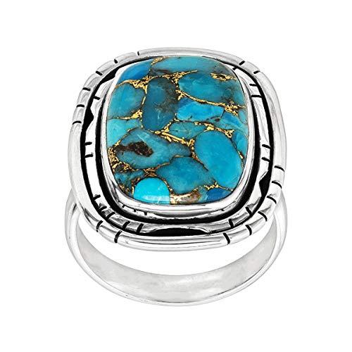 Silpada Anillo turquesa de cobre comprimido con texto 'Island in the Sky' en plata de ley azul