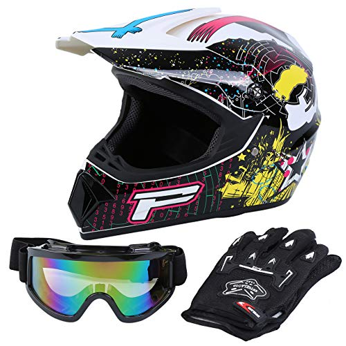 Samger DOT Adulto Offroad Casco Motocross Casco Dirt Bike ATV Motocicleta Casco Guantes Gafas (Blanco, S)