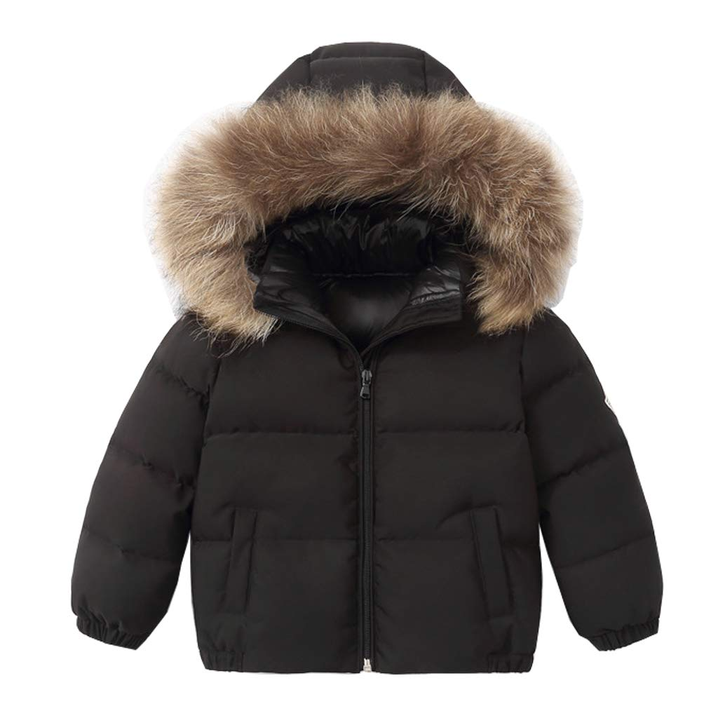 Kids Puffer Down Jacket Winter Hooded Coat with Removable Hat Boys Girls Snow Jackets Thicken Padded Autumn Warm Children Clothes Black 6-7 Years
