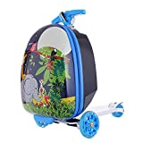 17' Kids Scooter Suitcase Ride-on Luggage Elephant Cartoon Zoo Mini Scootcase Children's Suitcase With Collapsible Scooter Baby Foldable Scootie Rolling Trolley Case Slide Car Toddler Stand Skateboard
