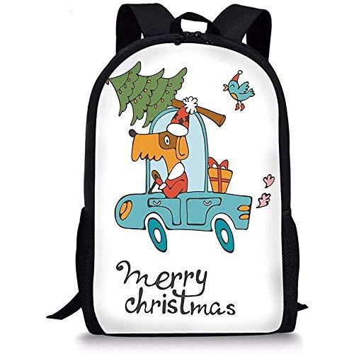 Hui-Shop Schultaschen Weihnachten, Blue Vintage Car Dog Fahren mit Santa Kostüm Netter Vogelbaum und Geschenk Geschenk, White Multi für Jungen Mädchen