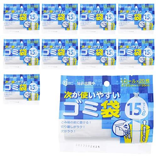 ケミカルジャパン ゴミ袋 次が使いやすいゴミ袋 20枚入×10個パック 半透明 15L HD-505N