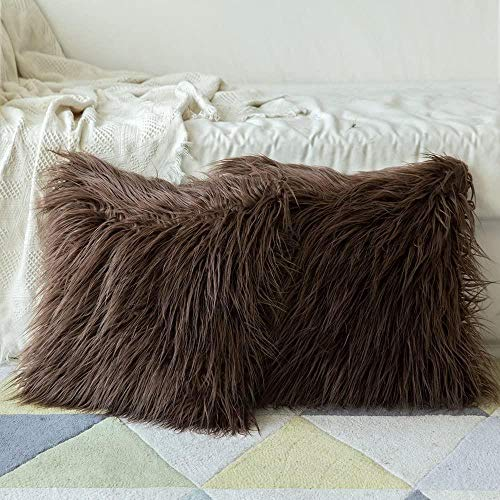 JBHOO Conjunto Caso Funda de Almohada Almohada Cuadrada Decorativa 2 de Piel cremosa Juntos por el sofá de la Sala de Coche,Chocolate,55x55cm