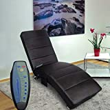 Polar Aurora Massage Chaise Lounge - PU Leather Ergonomic Electric Recliner Chair with Remote Control and Heating Function Black