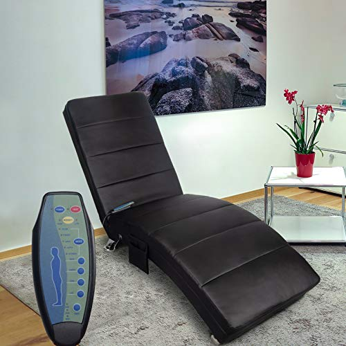 Polar Aurora Massage Chaise Lounge - PU Leather Ergonomic Electric Vibrating Recliner Chair with Remote Control and Heating Function Black