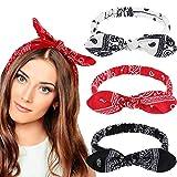 6 Stück Paisley Stirnbänder Boho Bogen Bandana Knoten Kopfbedeckung Retro Blume Gedruckt Elastische Kaninchen Ohr Haarband für Mädchen und Damen (Paisley Stil, 3 Stück)
