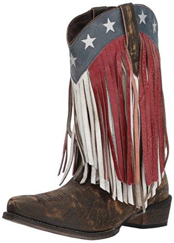Roper Women's American Beauty Fringe Western Boot, brown, 8.5 D US