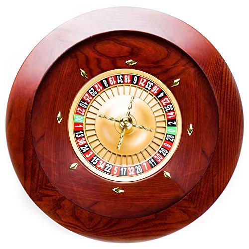 Brybelly Casino Grade Deluxe Roulette-Rad aus Holz, GROU-002, Rot/Braun-Mahagoni, 18