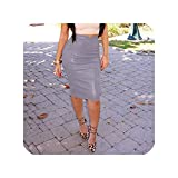 Women Pu Leather Skirt Autumn Streetwear Casual Office Work Wear Bodycon Pencil Skirt,Gray,XXL