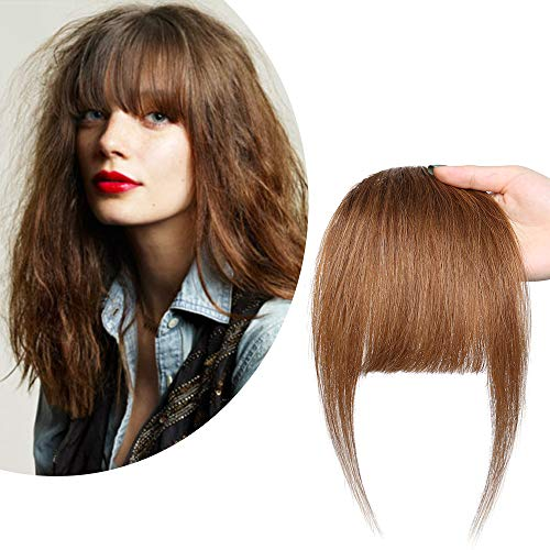 Real Human Hair Bangs Clip in Bangs Brown Hair Bangs Two Side Bangs Flat Neat Thick Fringe One Piece Bangs Hair Piece With Temples Bangs Hair Extensions for Women #06 Light Brown