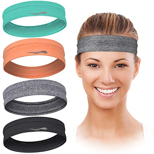 LUCKYGO Workout Headbands for Women Men, Highly Absorbent Non-slip Sweatbands, Super Soft Stretchy...