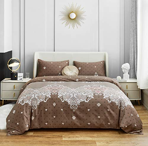 YuHeGuoJi 3 Pieces Duvet Cover Set 100% Egyptian Cotton Brown Queen Size Paisley Floral Bedding Set 1 Damask Print Duvet Cover with Zipper Ties 2 Pillowcases Luxury Quality Ultra Soft Breathable Comfy