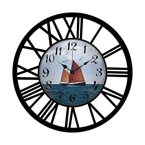 Rustic Black and Iron Frame Shabby Chic Style Home Decoration Wooden and Metal Wall Clock 16 Inches