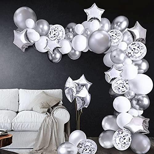 iZoeL 100Stk Silber Weiß Luftballon Girlande Kit Konfetti Luftballon + Ballongirlande Streifen für Geburtstag Mann Hochzeit Taufe Junge (Silber) (Silber)