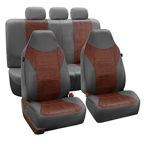 FH Group FH-PU160115 PU Textured High Back Leather Seat Covers, Brown/Gray (Airbag Compatible & Split Bench) W Fit Most Car, Truck, SUV, or Van