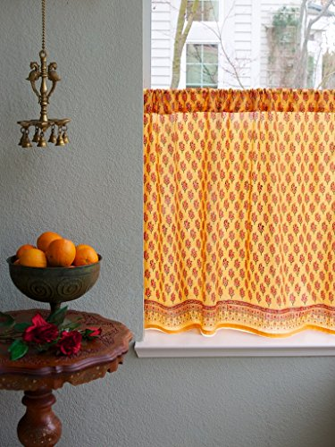 Saffron Marigold - Indian Summer - Orange Paisley Indian Sari Inspired Hand Printed - Sheer Cotton Voile Kitchen Curtain Panel - Rod Pocket - (46 x 30 inches)
