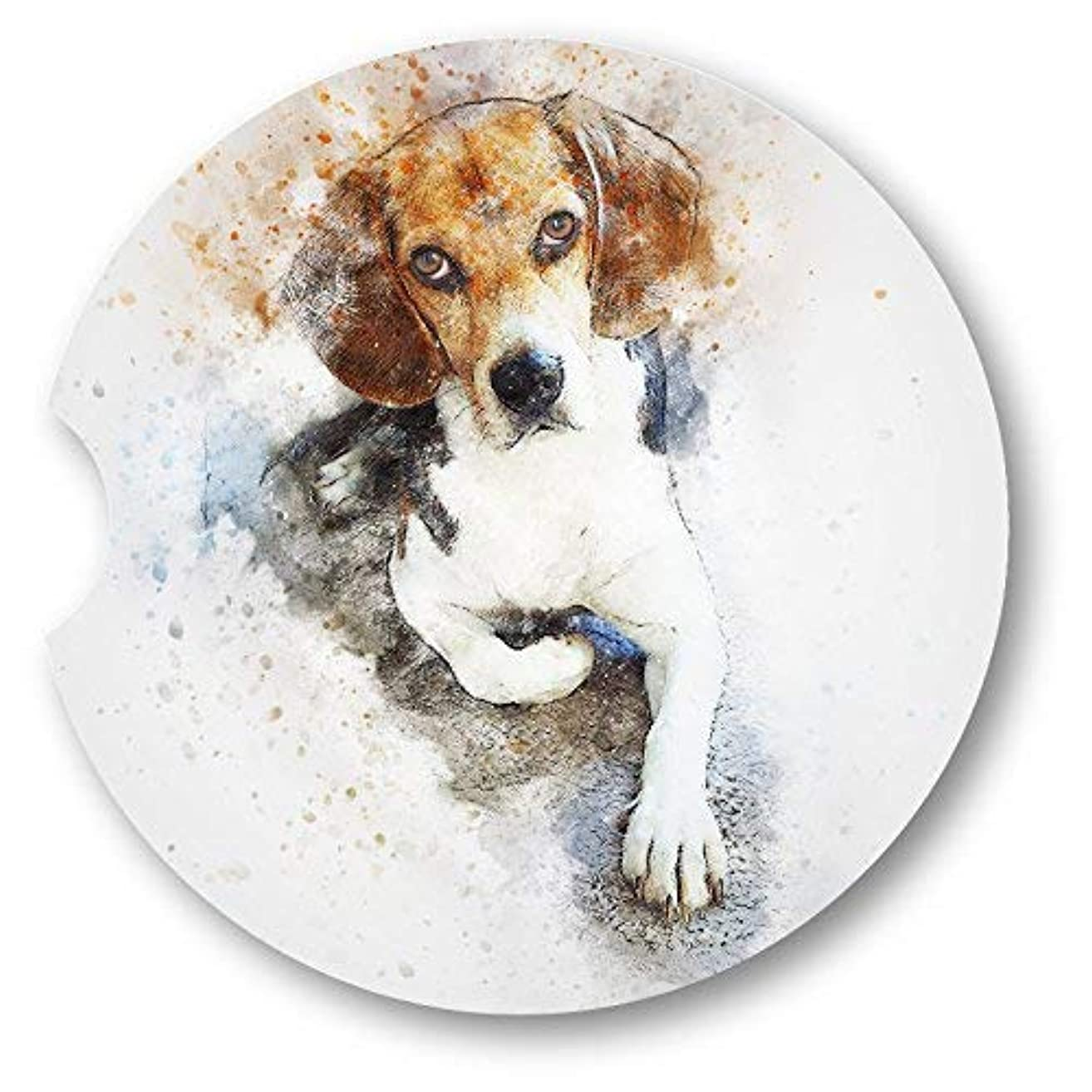 Water Color style Beagle Sandstone Car Coasters - Set of 2