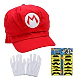 Teens Mario and Luigi Bros Hats with Mustache & Glove Halloween Party Cosplay Costume Set (Red)