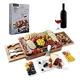 Juego de cuchillos y tabla para queso Hecef, con tabla de mármol, 2 platos de silicona para servir, 2 cajones, juego de 4 cuchillos para queso